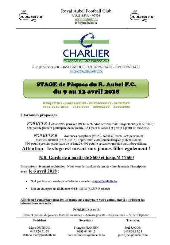 Stage Pâques 2018